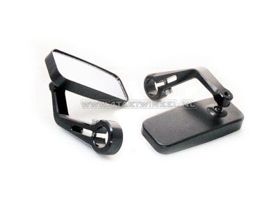 Spiegel set, bar-end, rechthoek, CNC zwart, Kepspeed