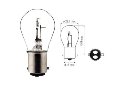 Koplamp BAX15D, duplo,  6 volt, 25-25 watt, o.a. SS50, CD50