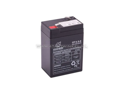 Accu 6 volt 4 ampere, SS50, Dax, gel, universeel