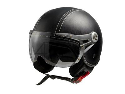 Helm MT, Le Mans Soul Retro, leder zwart, Maten XS t/m XXL