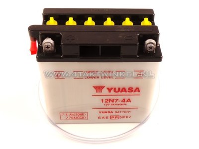 Accu 12 volt 7 ampere zuur, 12N7-4A, Mash Fifty, Yuasa
