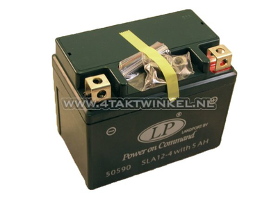 Accu 12 volt 5 ampere Landport, SLA12-4. Maat = 4