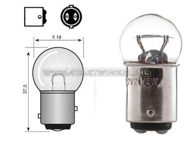 Achterlamp duplo BAY15D,  6 volt, 18-5 watt, klein bolletje