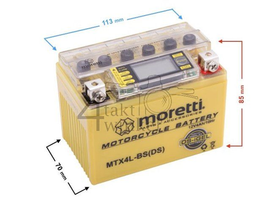 Battery 12 volt 4 ampere gel / AGM, MTX4L-BS, with volt indicator