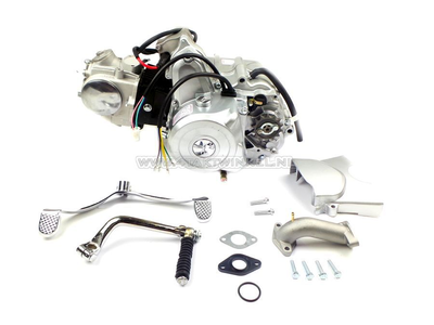 Engine, 70cc, manual clutch, 4-speed, top starter motor, silver