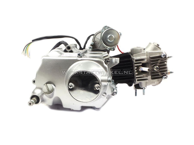 Engine, 50cc, manual clutch, 4-speed, top starter motor, silver