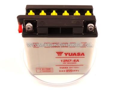 Battery 12 volt 7 ampere acid, 12N7-4A, Mash Fifty, Yuasa