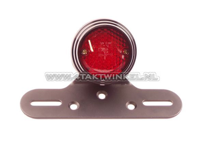 Taillight single 70mm round, LED, red glass, E-mark