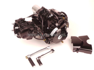 Engine, 50cc, manual clutch, Lifan, 4-speed, top starter motor, black
