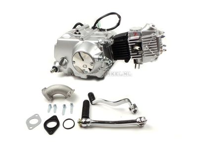 Engine, 50cc, manual clutch, Lifan, 4-speed, silver