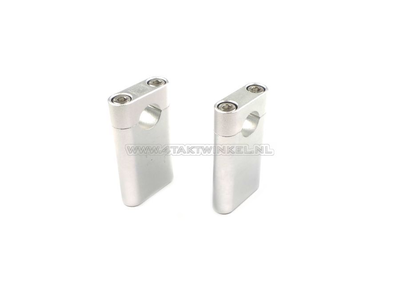 Handlebar clamps / risers, universal, Kepspeed, 100mm hex silver