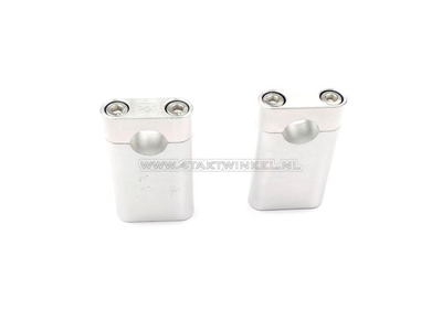 Handlebar clamps / risers, universal, Kepspeed, 75mm hex silver