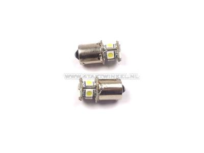 Bulb BA15-S, single, 12 volt, LED white, set of 2