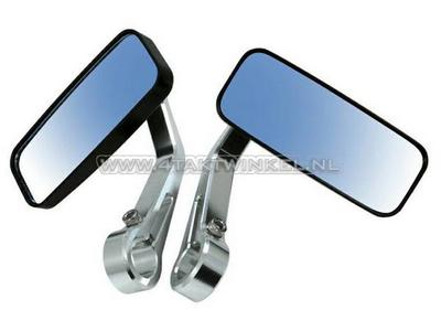 Mirror set, bar end, rectangle, CNC silver, Kepspeed