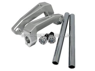 Handlebar aluminum, fork mounting, Dax, Monkey, 30mm, silver