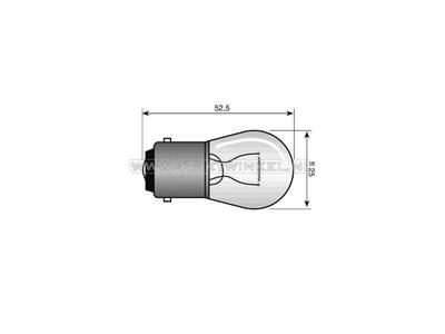 Bulb BA15-S, single, 12 volt, 15 watt medium-sized bulb