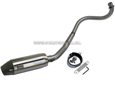 Exhaust tuning, down swept, single, NHRC, stainless steel pipe, aluminum silencer