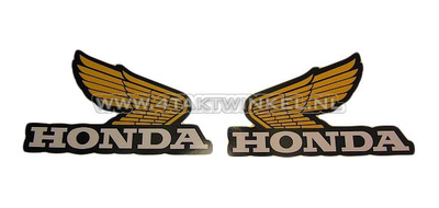 Sticker Honda wing, yellow set middle left & right, original Honda