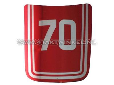 Sticker C70 OT front, red, original Honda, NOS