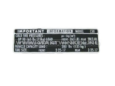 Sticker C50 chain guard tires information