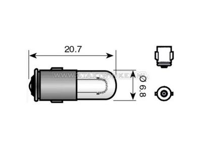 Lamp BA7s, enkel,  6 volt, 1.2 watt