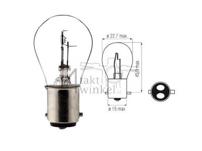 Bulb headlight BAX15D, dual, 6 volts, 15-15 watts, e.g. SS50, CD50