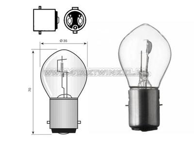 Bulb headlight BA20d, dual, 6 volts, 25-25 watts, e.g. Dax