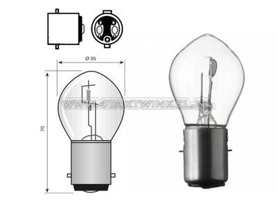Bulb headlight BA20d, dual, 6 volts, 15-15 watts, e.g. Dax