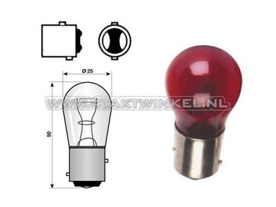 Rear bulb duplo BAY15D, 12 volt, 21-5 watt, red