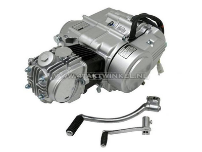 Engine, 50cc, manual clutch, Zongshen, 4-speed, silver