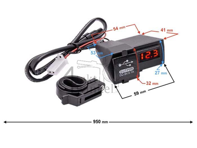 USB charger with 2 functions for 12 volt bike