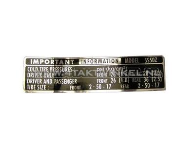 Sticker SS50 chain guard tire information