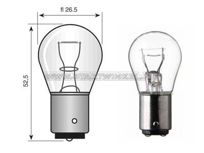 Bulb BA15-S, single, 12 volt, 21 watt big bulb