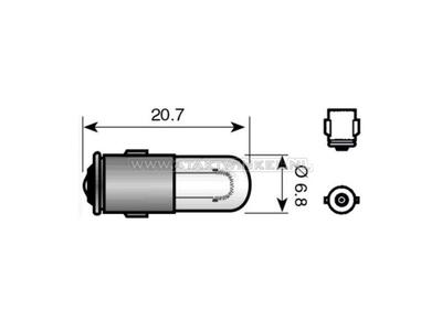 Bulb BA7s, single, 12 volt, 2 watt