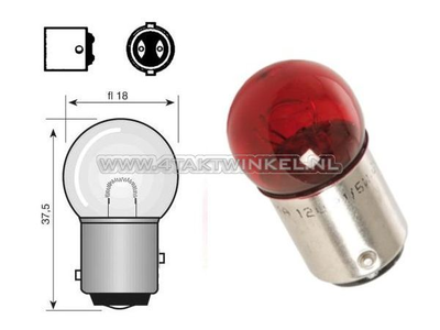 Rear bulb duplo BAY15D, 6 volts, 18-5 watts, small bulb, red