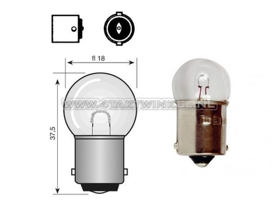 Bulb BA15-S, single, 12 volt, 21 watt, small bulb