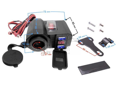 USB charger with 3 functions for a 12 volt bike
