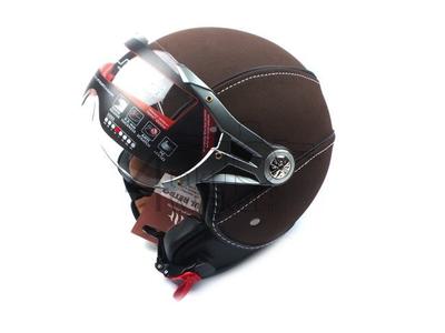 Helmet MT, Le Mans Soul Retro, leather brown, Sizes XS to XXL