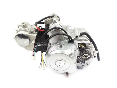 Engine, 70cc, manual clutch, 4-speed, top starter motor, silver