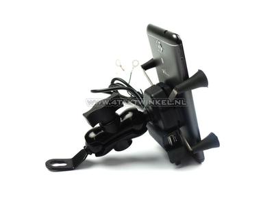 USB charger, phone holder, for 12 volt bike