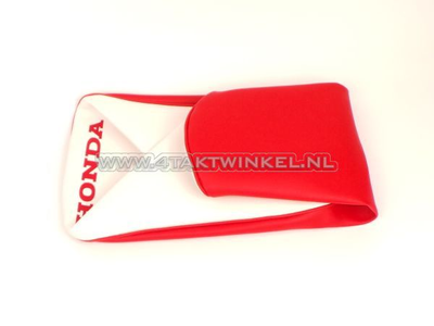 Seat cover C310 red / white, Honda print, aftermarket