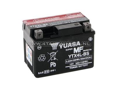 Battery 12 volt 3.2 ampere acid, YTX 4L-BS, Yuasa