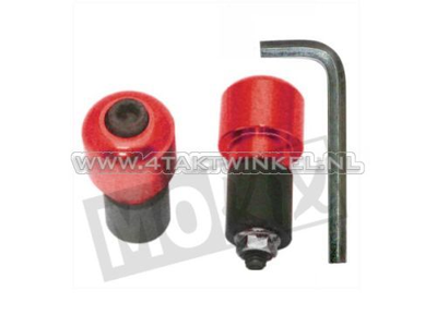 Handlebar weight / balance set, round small, red