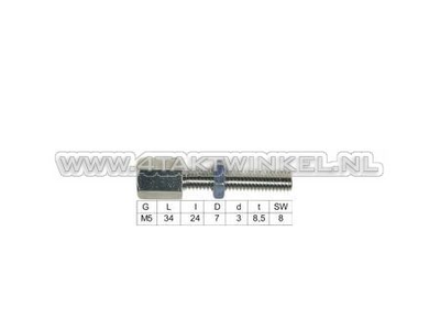 Cable adjuster, m5 thread with adjusting nut