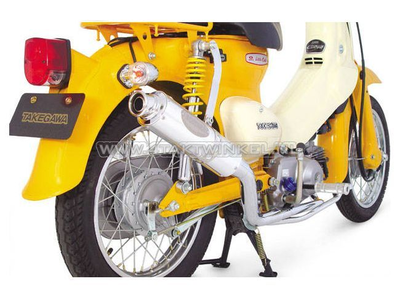 Exhaust tuning, down swept, single, Takegawa Bomber for C50, Chrome