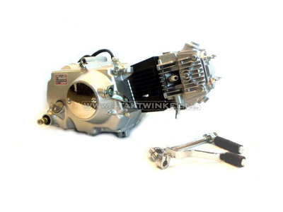 Engine, 107cc, manual clutch, Lifan, 4-speed, silver