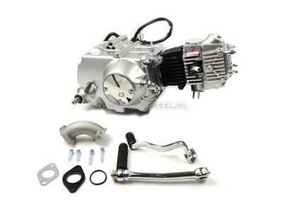 Engine, 50cc, manual clutch, Lifan, 4-speed, silver
