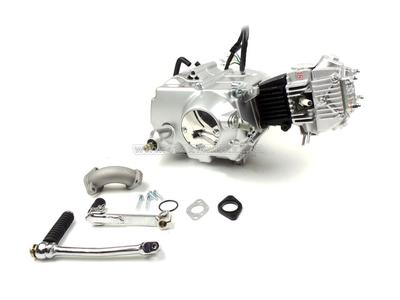 Engine, 70cc, manual clutch, Lifan, 4-speed, silver