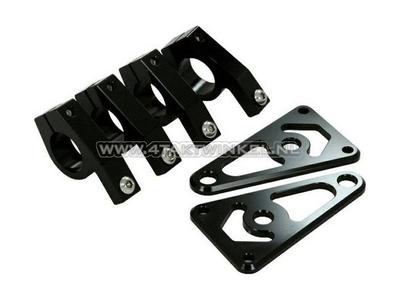 Headlight brackets, universal, CNC aluminum, 26mm, black