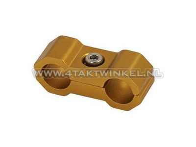 Cable clamp, 6mm, aluminum, gold
